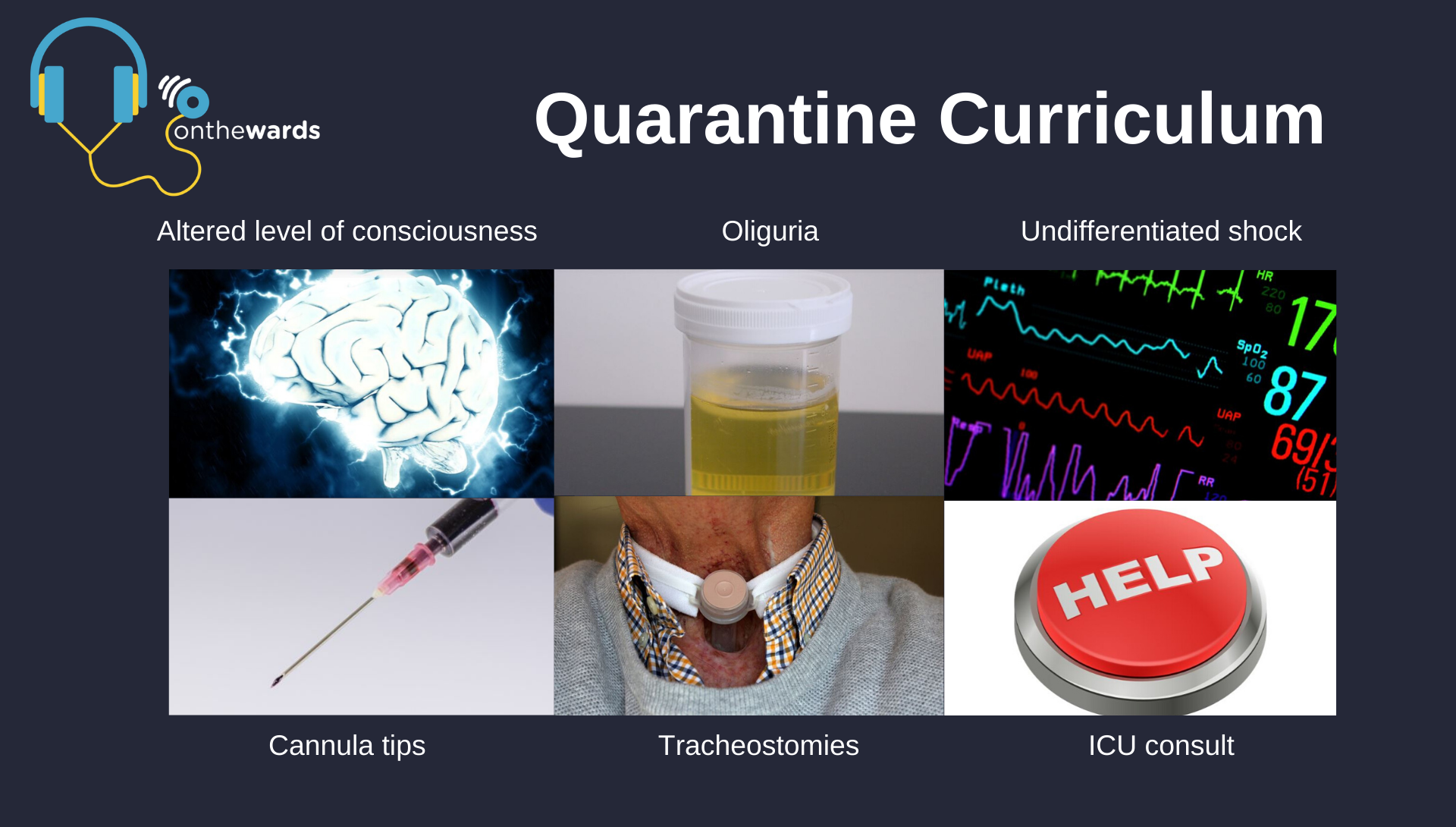 Podcasts on cannula tips & tricks,managing undifferentiated shock, tips for managing patients with oliguria, tracheostomies, and looking at altered levels of consciousness